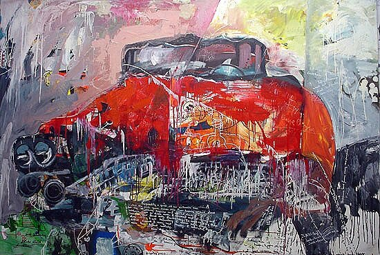 Red Vehicle, 1996, 69 x 96 ins, acrylics, oils, enamels on canvas.