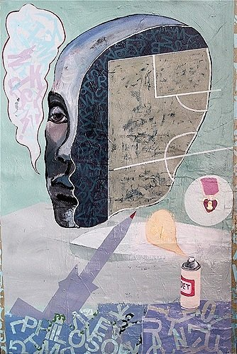 Poets, Philosophers & Imminence**, 2009, 60x41ins, acrylics, oils, enamels and collage on canvas.