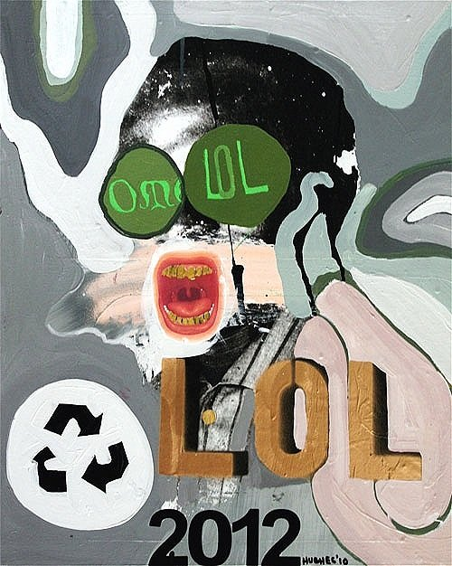 Scream**, 2010, 20 x 16 ins, acrylics, oils, collage on canvas.