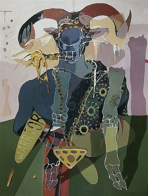 Warrior King, 2010 48x36ins, acrylics, oil, enamels on canvas.