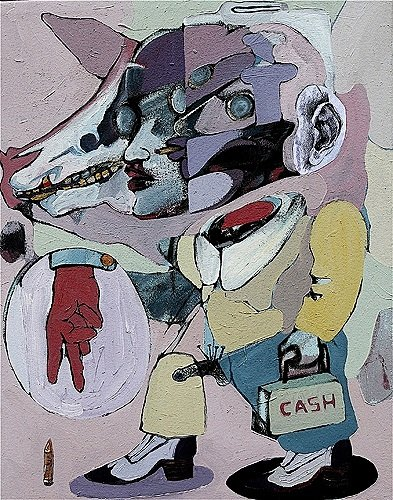 Tycoon Cash, 2009, 30 x 24 ins, acrylics, oils, enamels and collage on canvas.
