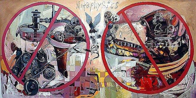 Metaphysics, 2005, 72 x 120 ins, acrylics, oils, and enamels on canvas. Av.