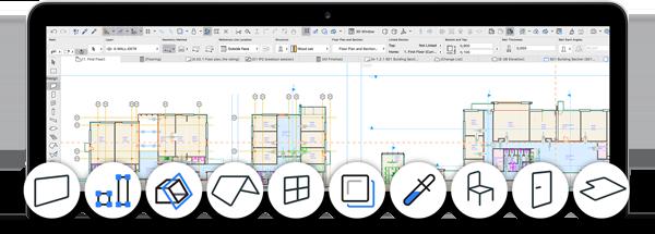 """Pamje e re në BIM ARCHICAD STAR(T) Edition 2017 ofron një interfejs të re dhe të pastërt duke maksimalizuar hapësirën punuese dhe me ikona të reja e të vektorizuara që duken të mprehëta në çfarëdo rezolucioni të monitorit. Përmirësimet në """"TAB"""" bazuar në navigim mundësojnë navigim të lehtë dhe të shpejtë ndërmjet pamjeve të ndryshme të projektit. -ARCHICAD STAR(T) EDITION 2017 sjell interfejs të unifikuar, azhuruar dhe profesional. -ARCHICAD STAR(T) EDITION 2017 ka një hapësirë punuese të pastërt dhe më të madh duke i shfaqur vetëm funksionet me një përdorim të gjerë dhe duke ristrukturuar komandat dhe opsionet me përdorim më të rrallë. -Duke eliminuar elementet grafike të panevojshme nga interfejsi, jo vetëm që është liruar nga zhurmat e panevojshme vizuale, por ofron edhe një hapësirë shumë më të madhe për projektimin dhe modifikimin e projektit."""