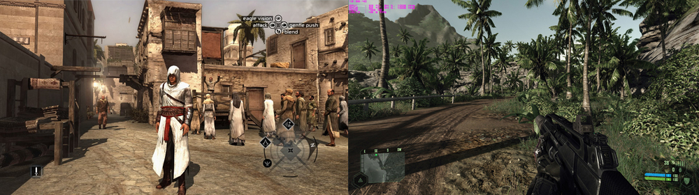 These games may have amazing visuals, but what does the future hold for us? Left: Guru3D. Right: ScrewAttack.