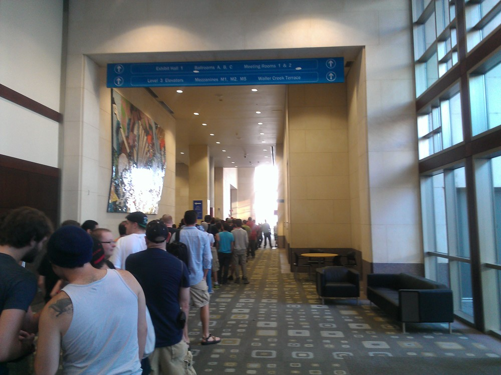 Line for registration.