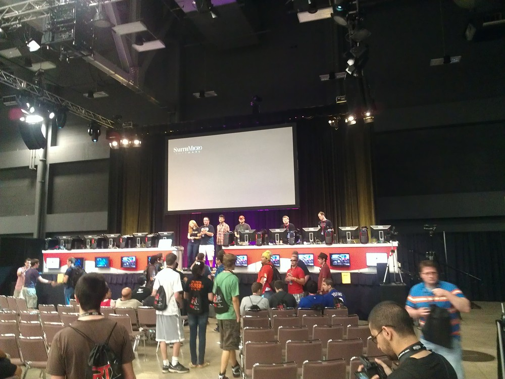 The main competitive gaming dais, teams playing Grifball and Tekken, among others.