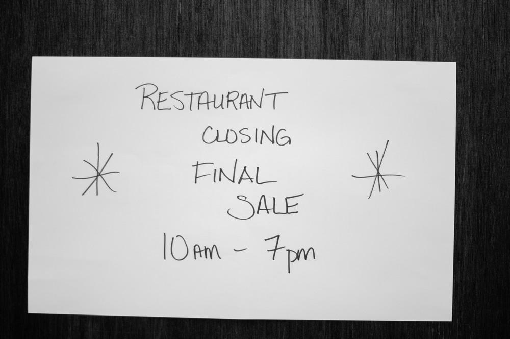 Restaurant Closing Final Sale