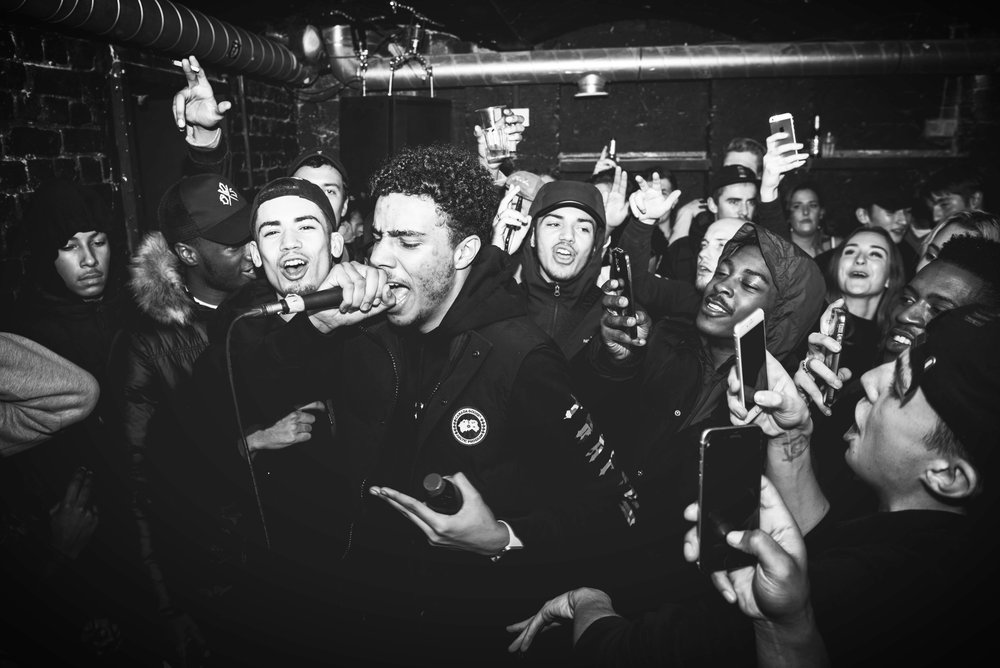AJ Tracey at Junction House for Samurai Sound // 261116. I photographed this show for a recording company, and I love this shot of AJ going in with the crowd around him.