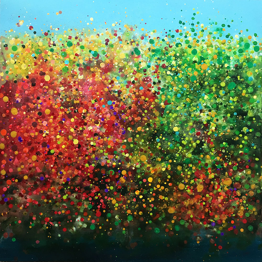 "Sounds of Leaves Moving in Autumn   Acrylic on Wood 20""x20"" completed 2019 for Upper Saco Valley Land Trust's   Art Celebrates Place"