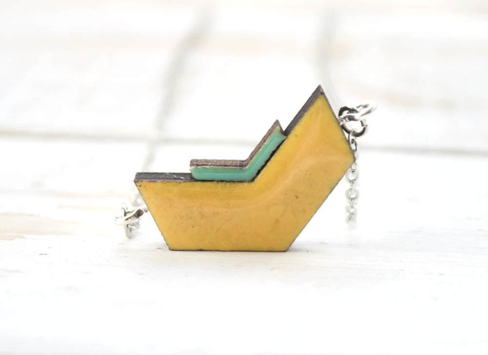 Yellow and Turquoise Duco necklace