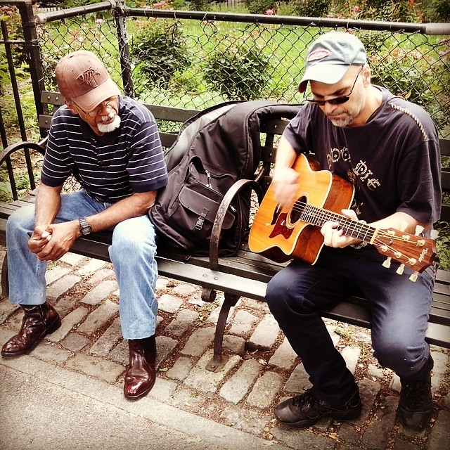 Paul took this man's acoustic to jam out on some #HouseOfGod tunes #TompkinsSquarePark #GoodTimes