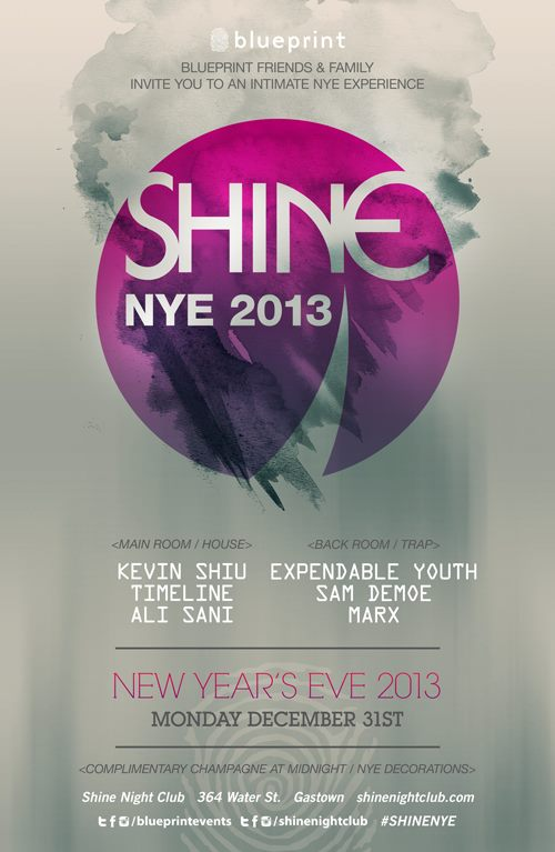MAINROOM: Kevin Shiu, Timeline, Ali Sani - BACK ROOM: Expendable Youth, Sam Demoe, Marx shine nightclub vancouver
