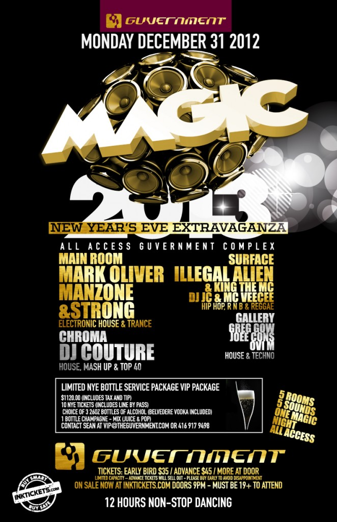 mark oliver manzone & strong illegal alien king the mc dj jc mc veecee greg gow joee cons ovi m dj couture NYE Guvernment Toronto