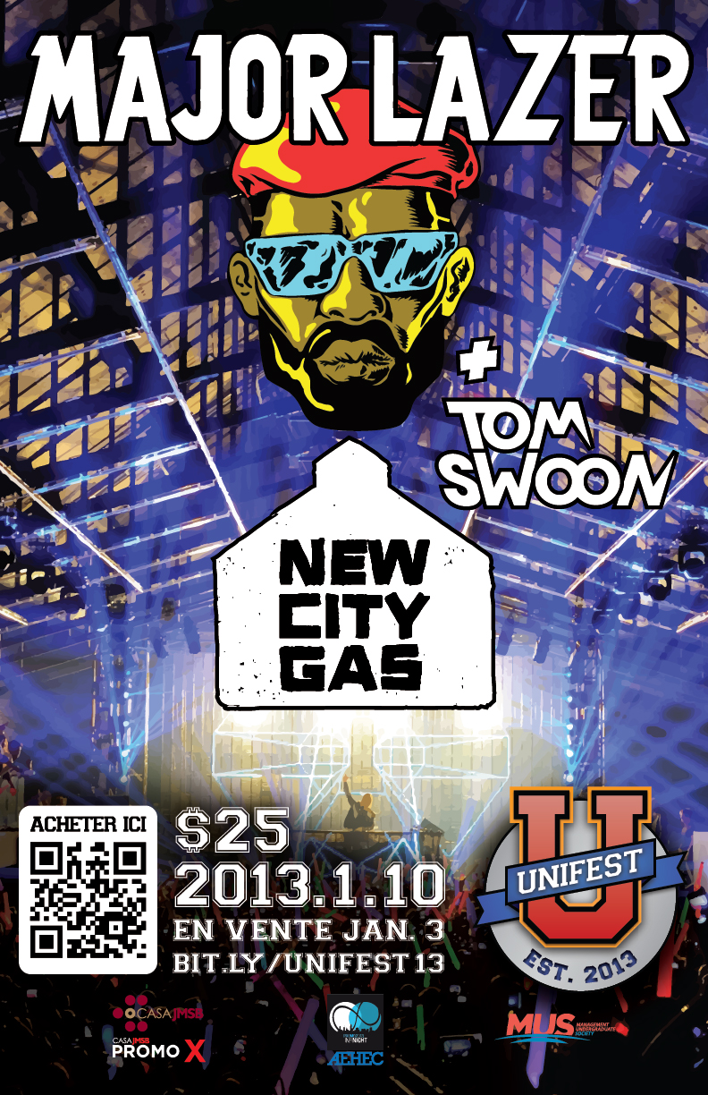 Major Lazer, Tom Swoon montreal new city gas