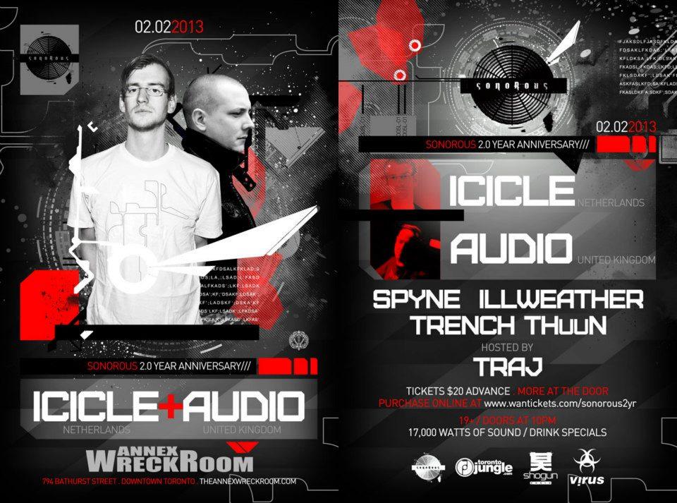 Icicle, Audio, Spyne, (40hz), ILLweather/Trench/THuuN annex wreckroom toronto
