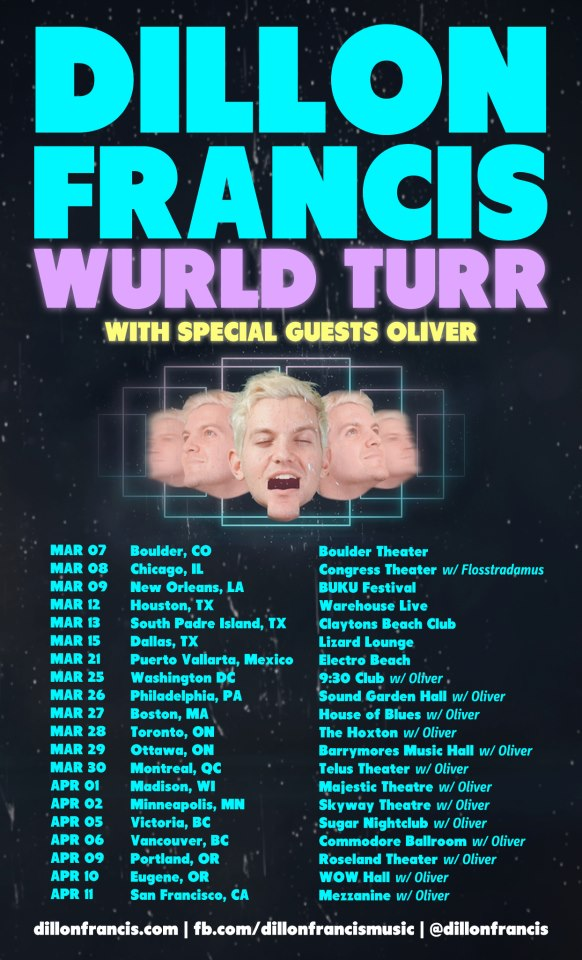 Dillon Francis will be in Ottawa, Montreal, Toronto, Victoria, Vancouver in early 2013.
