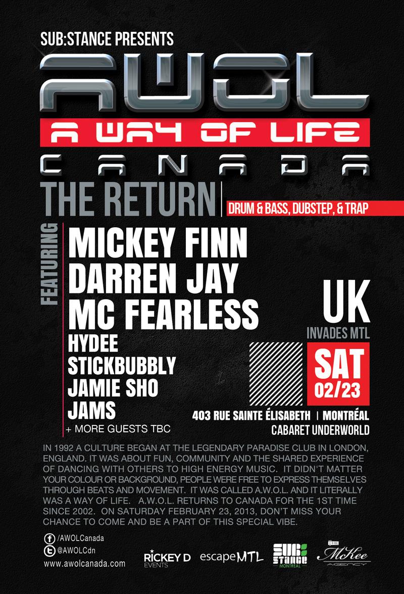 Mickey Finn, Darren Jay, MC Fearless, Hydee, Stickbubbly, Jamie Sho, Jams Cabaret Underworld Montreal