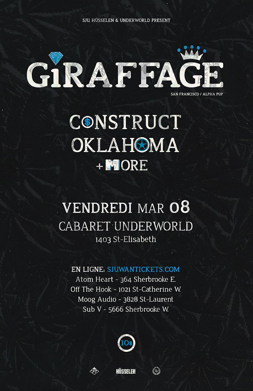 Giraffage, Construct, Oklahoma Cabaret Underworld Montreal