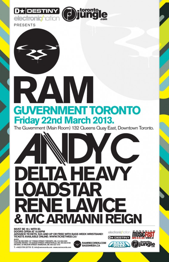 Andy C, Delta Heavy, Loadstar, Rene LaVice + MC Armanni Reign Guvernment Toronto