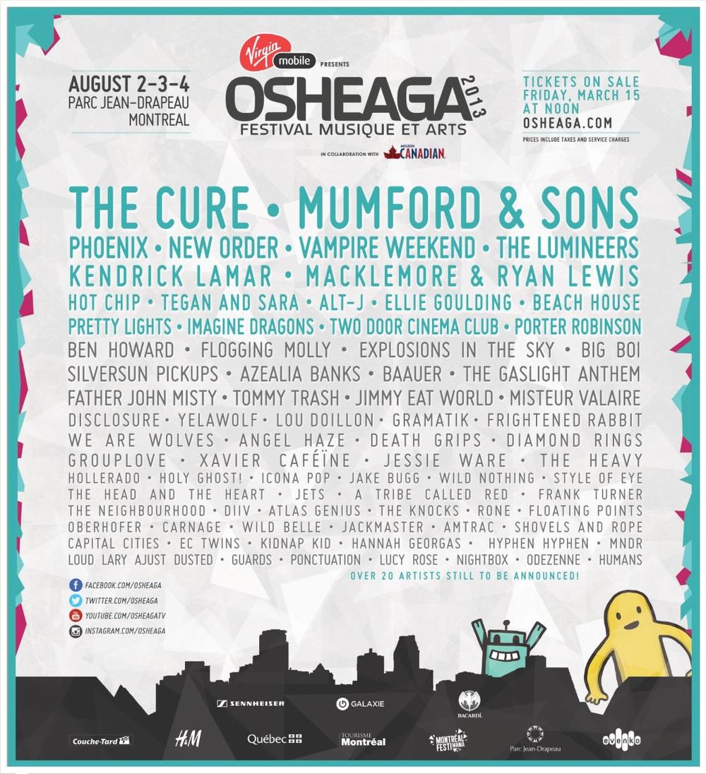 Osheaga 2013 lineup Montreal