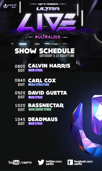 UMF TV schedule with Calvin Harris, Carl Cox, David Guetta, Bassnectar, Deadmau5