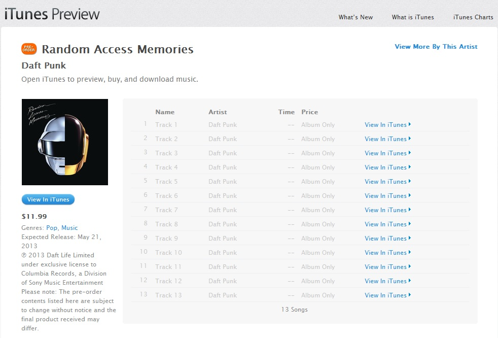 Daft Punk new album 'random access memories'