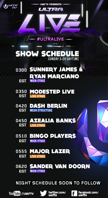 Sunnery James & Ryan Marciano, Modestep, Dash Berlin, Azelia Banks, Bingo Players, Major Lazer, Sander Van Doorn UMF TV Sunday schedule