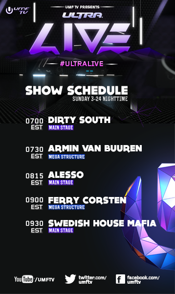 Dirty South, Armin Van Buuren, Ferry Corsten, Swedish House Mafia UMF TV schedule