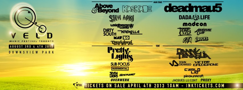 Full Lineup: Deadmau5, Above & Beyond, Kaskade, Pretty Lights, 12th Planet, Danny Tenaglia, Carlo Lio, Dirty South, Adventure Club, Thomas Gold, GTA, Sub Focus, Modestep, Victor Calderone, Seven Lions, Steve Aoki, Dada Life, The Knocks, Proxy, Candyland, Laidback Luke, Krewella, Rudemental, Jacques Lu Cont, Pleasurekraft, Mat Zo, Overwerk, Madeon