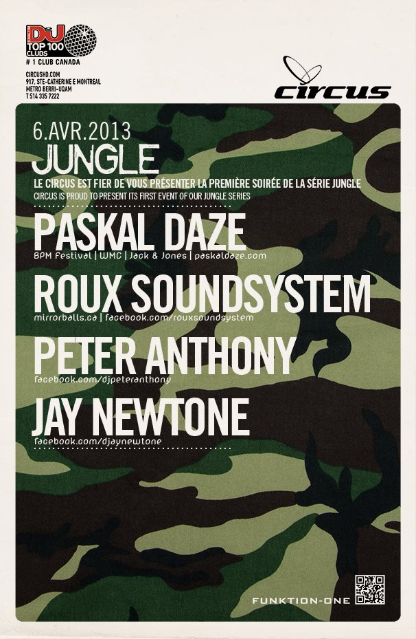 Paskal Daze, Roux Soundsystem, Peter Anthony, Jay Newtone Circus Montreal