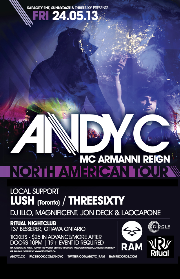 Andy C w/ MC Armani Reign, Lush, DJ Illo, Magnificent, Jon Deck & Laocapone Ritual Ottawa