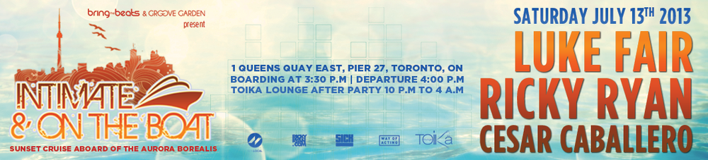 Luke Fair, Ricky Ryan, Cesar Caballero Aurora Borealis Yacht Toronto