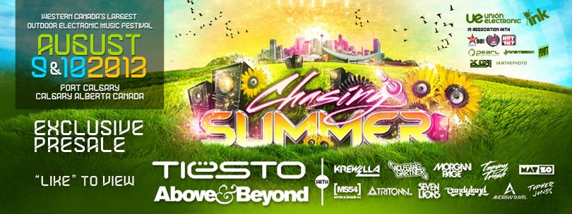 Chasing Summer Electronic Music Festival Day 2 DJs: Tiesto, Above & Beyond, Krewella, Wolfgang Gartner, Morgan Page, Tommy Trash, Mat Zo, Myon & Shane 54, Tritonal, Seven Lions, Candyland, Andrew Rayel, Topher Jones Fort Calgary