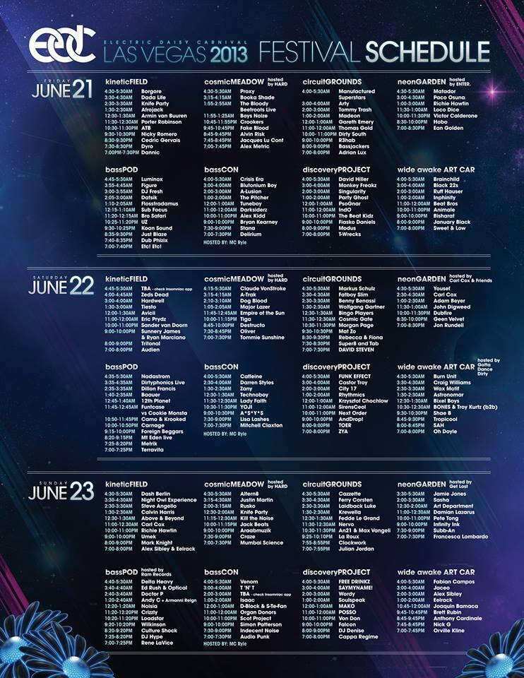 EDC Las Vegas set times