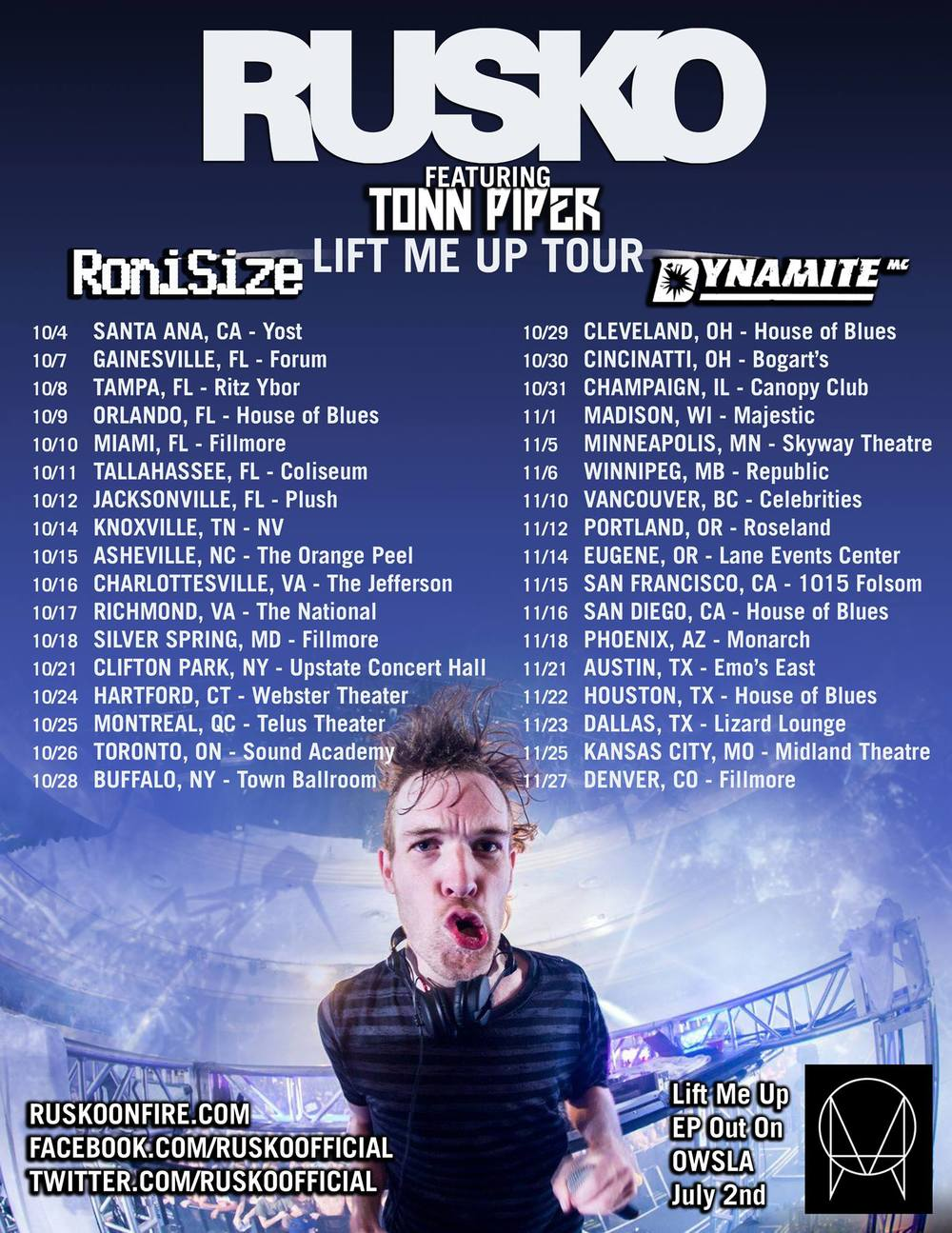 Rusko LIft Me Up Tour with Roni Size, Dynamite MC