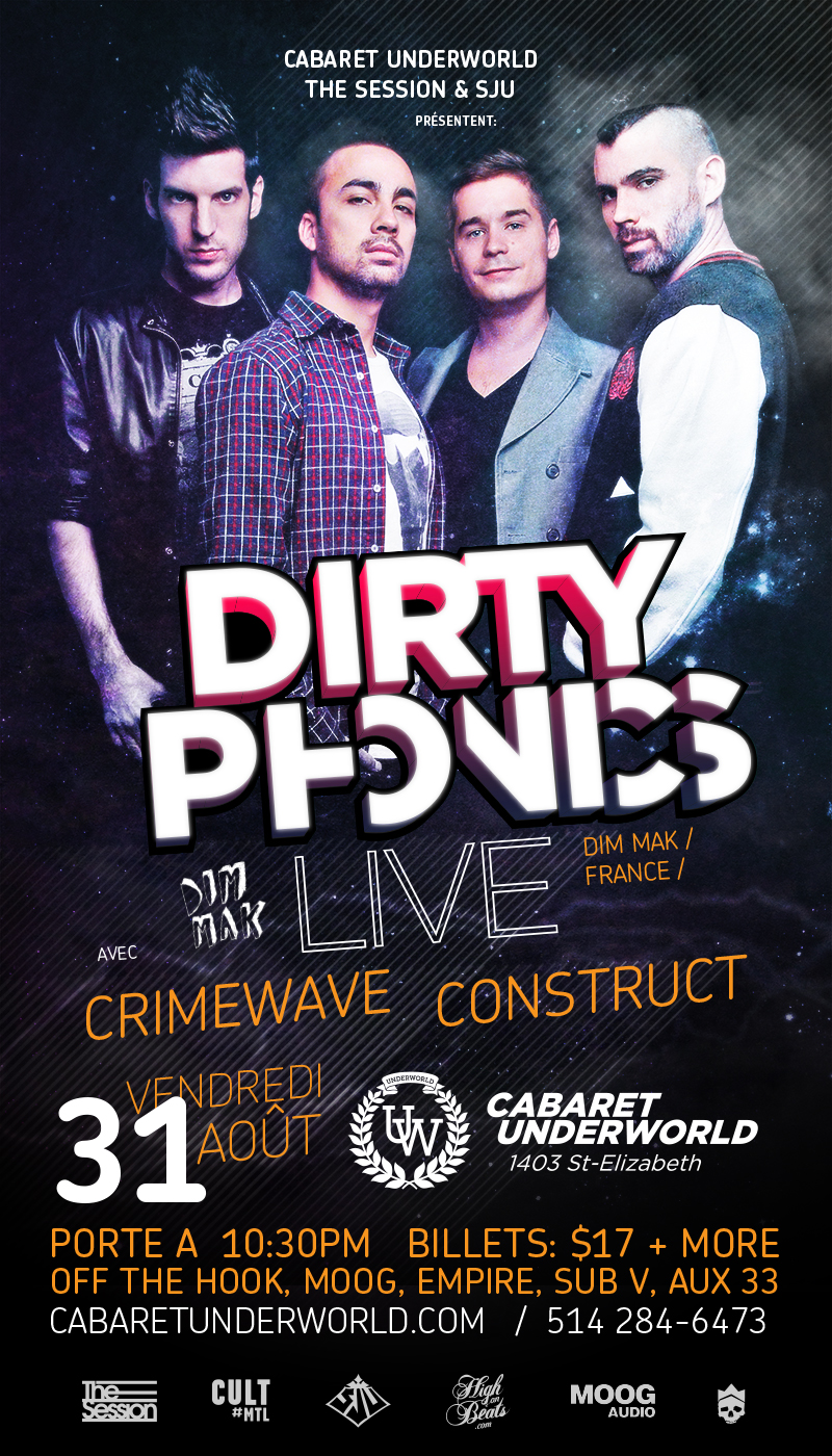 Dirtyphonics Live w/ Crimewave & Construct at Cabaret Underworld Montreal