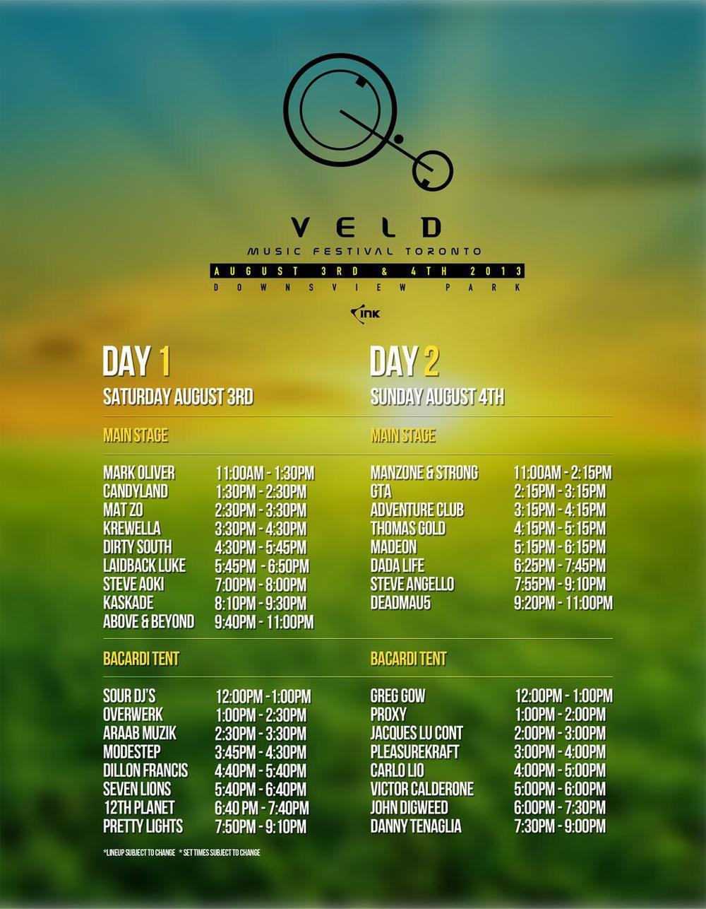 Veld music festival Toronto set times