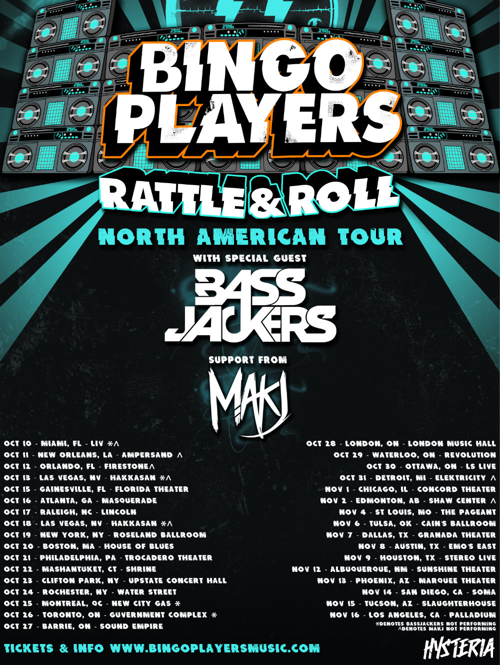 Bingo Players w/ Bassjackers, MAKJ Montreal at New City Gas