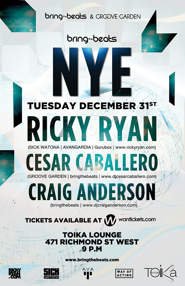 Ricky Ryan, Cesar Caballero, Craig Anderson Toika Lounge on New Years Eve