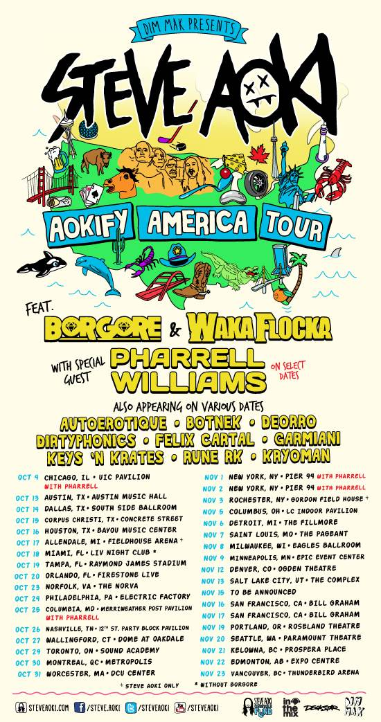 Steve Aoki's North American Tour with Waka Flocka and Borgore