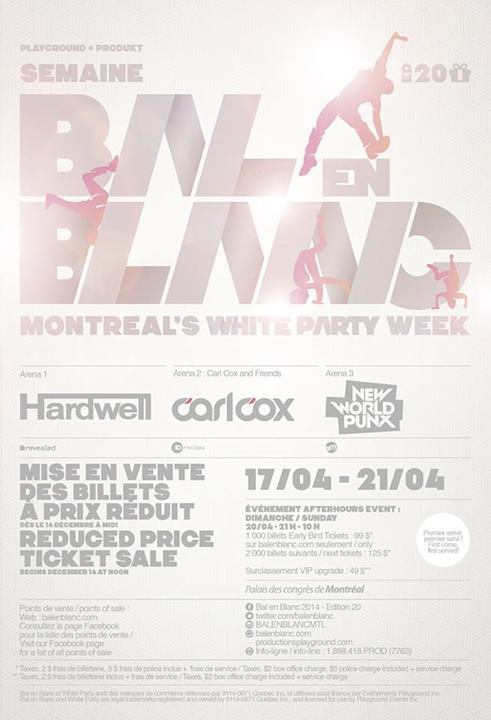 Bal en Blanc 2014 featuring Hardwell, Carl Cox, New World Punx in Montreal