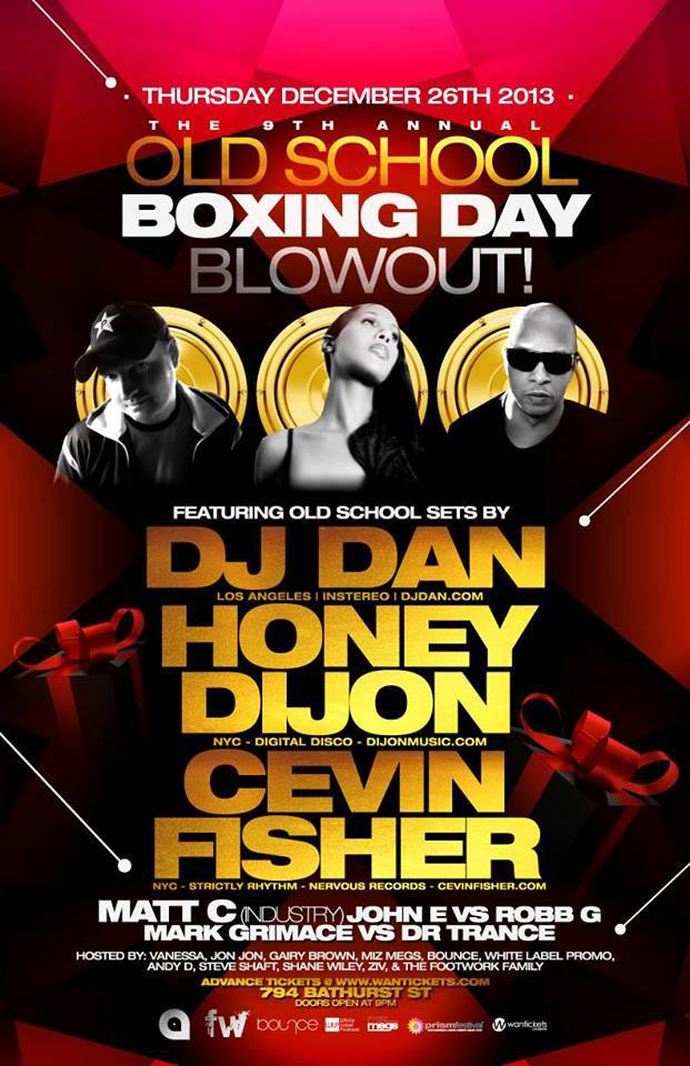 Boxing Day ft DJ Dan, Honey Dijon, Cevin Fisher, Matt C, John E vs. Robb G, Mark Grimace vs. Dr. Trance at 794 Bathurst in Toronto