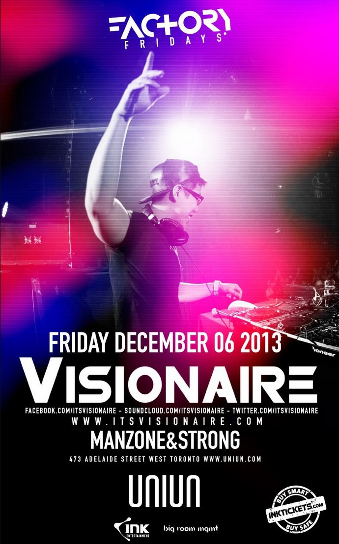 Visionaire ticket giveaway in Toronto