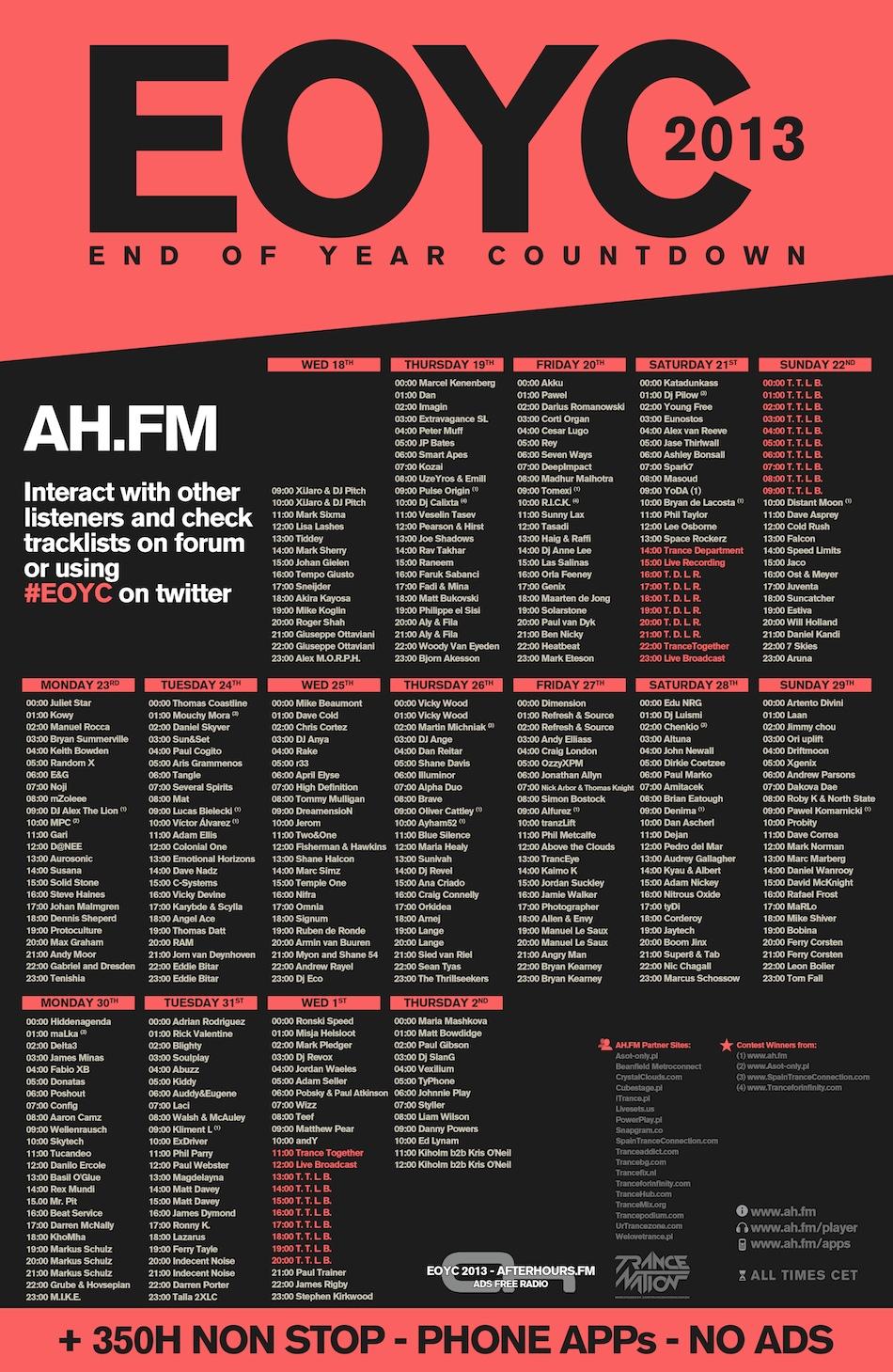 EOYC 2013 schedule