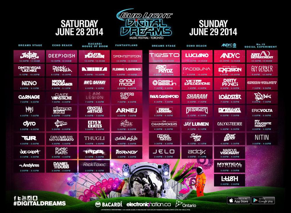 This picture includes set times - Please click to zoom