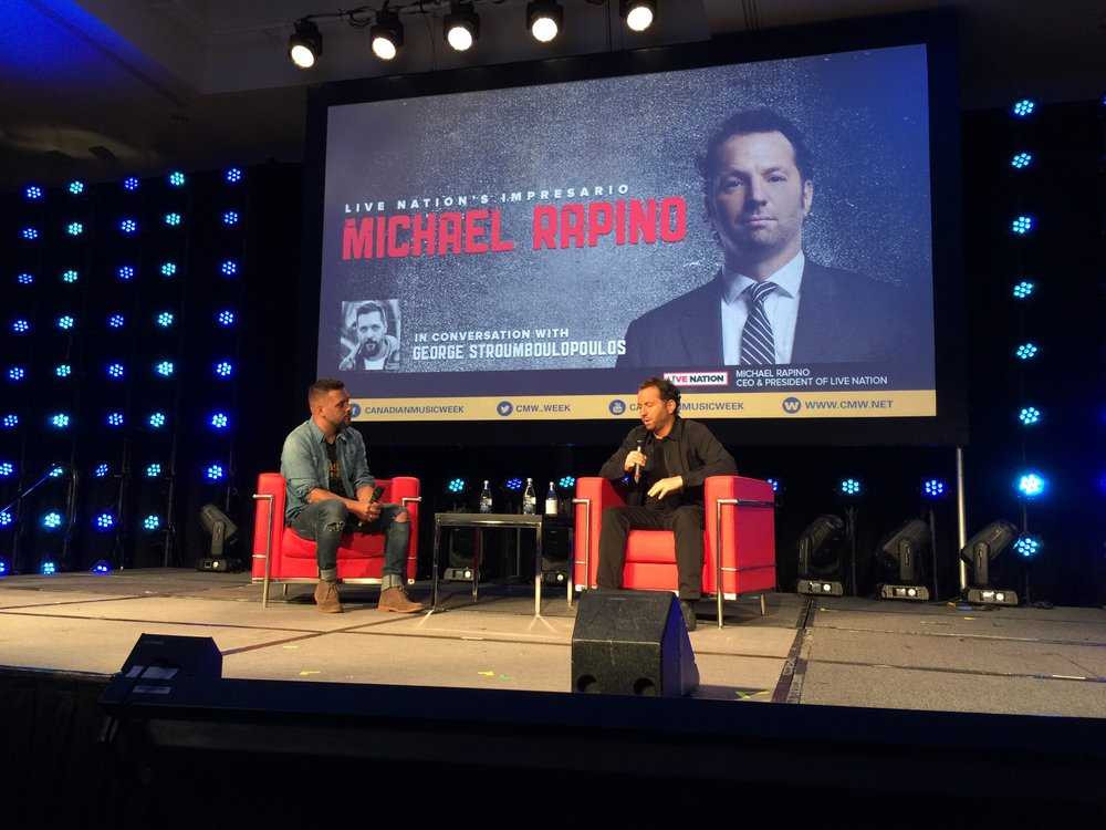 The top billing of the conference lived up to the hype as Michael Rapino of Live Nation gave fantastic advice while Strombo interviewed him.