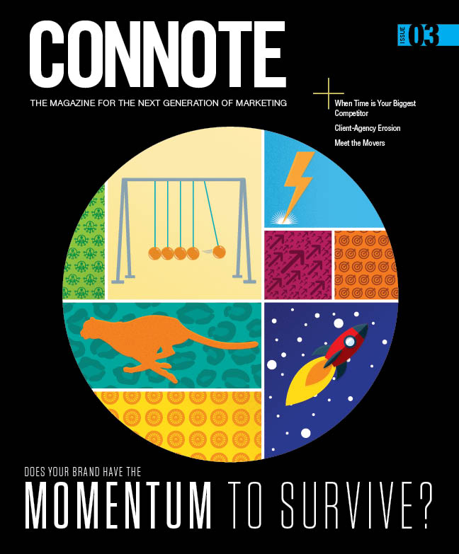 An illustrated cover concept conveying different forms of momentum for the third issue of Connote.