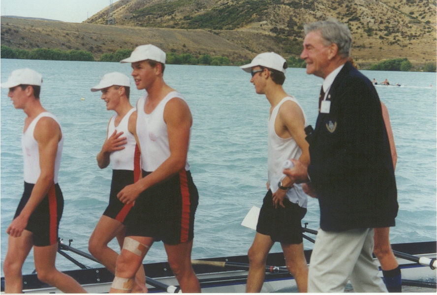 mens junior four first - 1st place 1999 - crew celebrations with patron evan mccalman.jpg