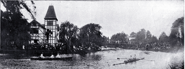 Opening of the Christchurch boating clubs' 1907-1908 season on the Avon River (1907). Decorated boats were rowed up and down the river. A very pretty decorative scheme, worked out in seaweed and shells and rowed by a crew of green-clad girls from the Canterbury Club, won first prize. Photo courtesy of CCC Library.