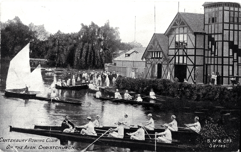 Canterbury Rowing Club on the Avon River, Christchurch (~1909) - Photo courtesy of CCC Library